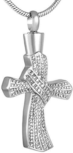 Collar de moda para mujer Cenizas de la cremación de la cadena collar de recuerdo colgante collar con una cruz colgante de collar de colores personalizados grises urnas de cenizas religiosa de joyería