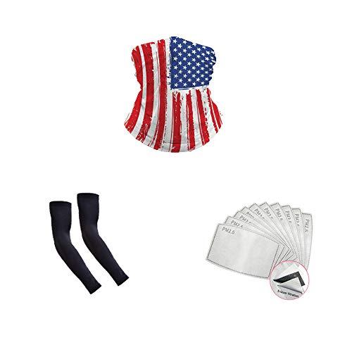 Neck Gaiter Shield Scarf Bandana Face Mask, Flag 10 Filter, 1 Face Shield, 1 Arm Sleeve