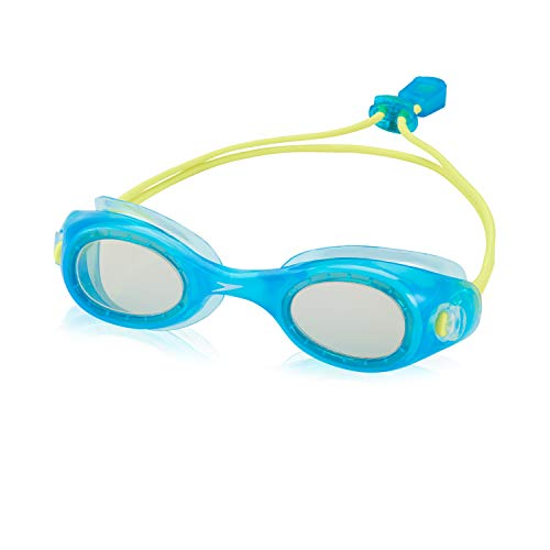 Speedo Unisex-Child Swim Goggles Hydrospex Bungee Junior Ages 3-8 , CYAN BLUE/GREY