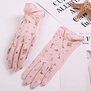 SHENTIANWEI UV Protection Stretch Short Thin Shade Driving Non-slip Female Sunscreen Gloves (Color : Pink-c, Size : One size-Two pairs)