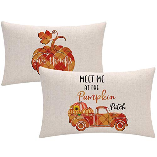Autumn Harvest - Fundas de cojín decorativas para cojín (30,5 x 50,8 cm), diseño de cuadros, color naranja