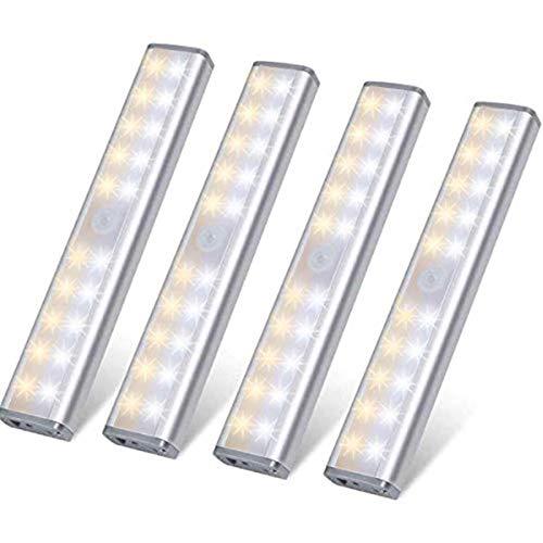 LED Bewegungsmelder Schrankbeleuchtung 20 LEDs, Kleiderschrank Lampen Unterbauleiste Beleuchtung Küchenlampen, USB Schranklicht 3 Modi mit 3 Helligkeitsstufen, Schrankleuchte für Innenzimmer Küche