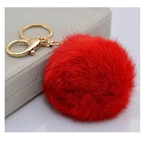 LIFECART - Portachiavi pelo di coniglio, colore: rosso