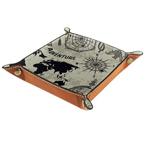 TIZORAX Vintage Weltkarte Kompass und Globus Leder Aufbewahrungsbox Valet Tray Schmuck Organizer für Münzen Schlüssel