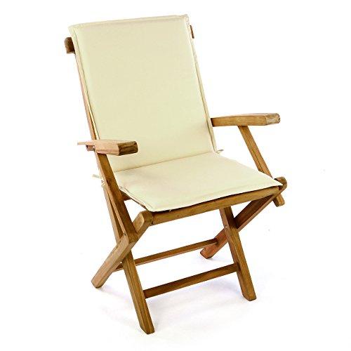 Divero GL05038_SL01 Balkonstuhl Klappstuhl Teakstuhl Gartenstuhl mit Auflage Kissen Creme – Teakholz Stuhl für Terrasse Camping – wetterfest kompakt klappbar behandelt – Natur-braun