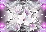wandmotiv24 Fototapete Magnolie Ornamente rosa XL 350 x 245 cm - 7 Teile Fototapeten, Wandbild, Motivtapeten, Vlies-Tapeten Blumen, Wellen, Abstrakt M1396