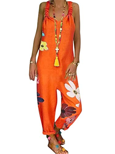 Tomwell Damen Beiläufig Latzhose Jumpsuits Bib Hose Leinen Einfarbig Casual Loose Overall Rompers Lange Wide Leg Hosen B Orange 40