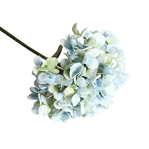 MerryWould Flores Artificiales,Hortensia Artificiales Realista Largo Tallo Falso Hortensia Flores Seda Nupcial Ramo de Novia Flor para Home Garden Party Hotel Decoración