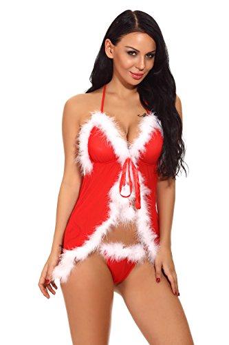 Pollara Damen Dessous Set Weinachten Chrismas Kostüm Lingerie Nicolaus Weihnachts Babydoll Rot (D: Rot, S)