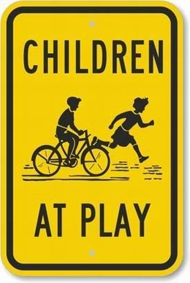 EstherMi19 Señal de advertencia de metal para niños en el juego (con gráfico) para la propiedad, señal de seguridad de advertencia de alerta de aluminio