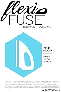 """25 Sheets (8"""" x 10.5"""") - FlexiFuse Lightweight Fusible Web for Applique"""