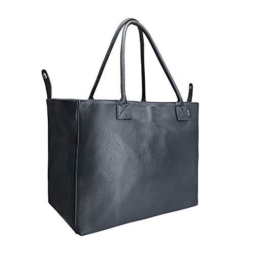SKUTARI Luciana Classic Shopper de piel para mujer, con bolsillo interior con cremallera, bolso de mano con forma modificable, fabricado en Italia, color Azul, talla 52cm x 29cm x 18cm