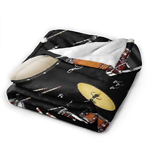 """Product Image 2: BONLOR Percussion Black Drum Throw Blanket Ultra Soft Thick Bed Blanket Soft Coral Flannel Blanket Micro Fleece Blanket for Sofa Couch Bed Chair Office Sofa Soft Blanket Home Bed Blankets 60""""x 50"""""""