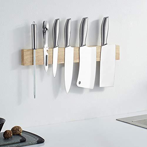 MIAOHUI Soporte magnético para cuchillos de cocina, soporte magnético para pared, barra de herramientas, soporte para utensilios de cocina y organizador (33 cm)