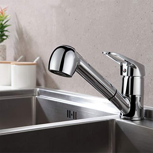 Auralum Einhebel Küchenarmatur mit 2 Strahlarten Geschirrbrause Wasserhahn Küche ausziehbar Spültischarmatur Armatur mit 360° schwenkbar Chrom Einhandmischer Mischbatterie für Küche