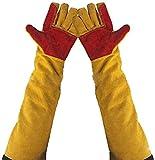 Guantes de soldadura de piel de 60 cm con mangas extralargas, guantes de trabajo a prueba de cortes, guantes de trabajo gruesos, resistentes al calor, guantes de chimenea, guantes de jardinería