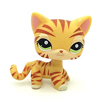 Small Pet Shop Rare Yellow Orange Tiger Cat Kitten Kitty Green Eyes LPS