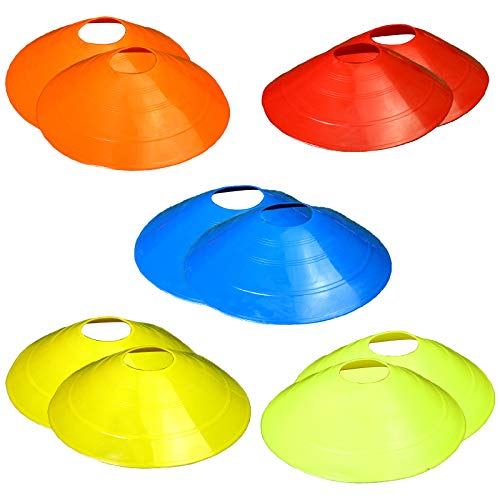 JANEMO 10 Pcs Soccer Cones,Sports Cones for Training, Football, Sports and Kids,Agility Cone,Field Cone Markers(5 Color)