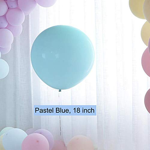 18 inch Pastel Balloons for Parties 10 pcs Macaron Latex Balloons for Birthday Wedding Engagement Anniversary Christmas Festival Picnic or any Friends & Family Party Decorations-pastel blue