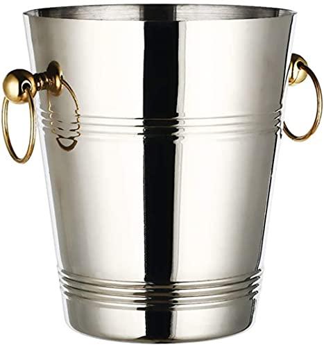 exari Cubo de Hielo de Acero Inoxidable Cubo de Hielo portátil Cubo de Vino Cubo de champán Aislado Resistente a la oxidación Versatilidad Utilidad Plata
