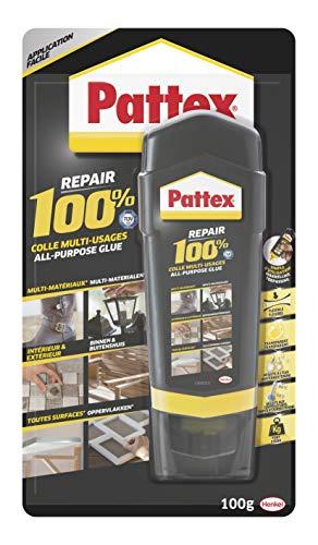 Pattex Repair 100% Colle Multi-usages, colle forte transparente pour tous types de travaux à l'intérieur et l'extérieur, colle liquide multi- matériaux, 100 g