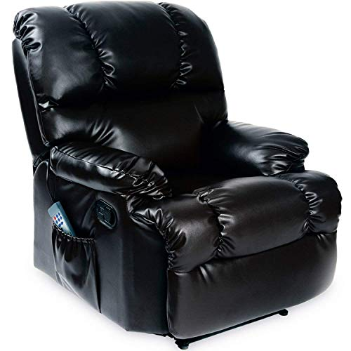 Cecotec - Sillón de Relax Masaje, Función Calor, 10 programas, 10 intensidades, 8 Motores, Mando de Control con Temporizador, Polipiel, Bolsillo portaobjetos, Color Negro