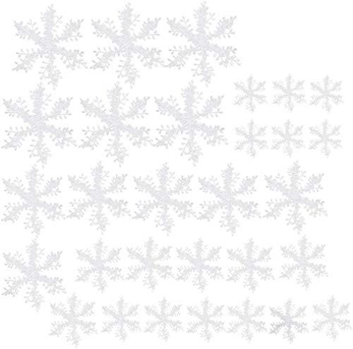 XIAOGING 30pcs Christmas Snowflakes Decor Winter Decorations White Christmas Snowflake Decal Christmas Theme Decorations Christmas Tree Pendant for Christmas Party Wedding