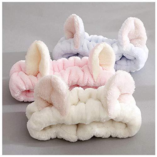 KUANGWENC Diadema de lana de coral para mujer, lindos lazos para el pelo suave, diadema, para lavar la cara, maquillaje, turbantes, vendaje para niñas, 3 unidades