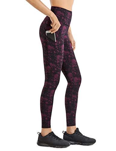 CRZ YOGA Mujer Naked Feeling Leggings Deportivas Cintura Alta Yoga Fitness Pantalones con Bolsillo-63cm Patrón de Textura 8 46