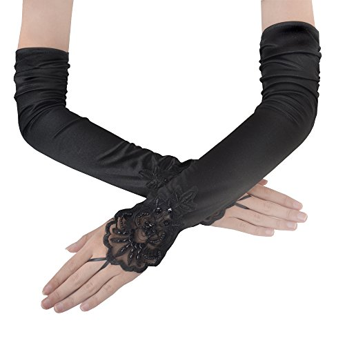 """JISEN Women Fingerless Long Gathered and Beaded Fold Floral Embroidery Lace Sequins Satin Bridal Party Gloves 16.7"""" Black"""