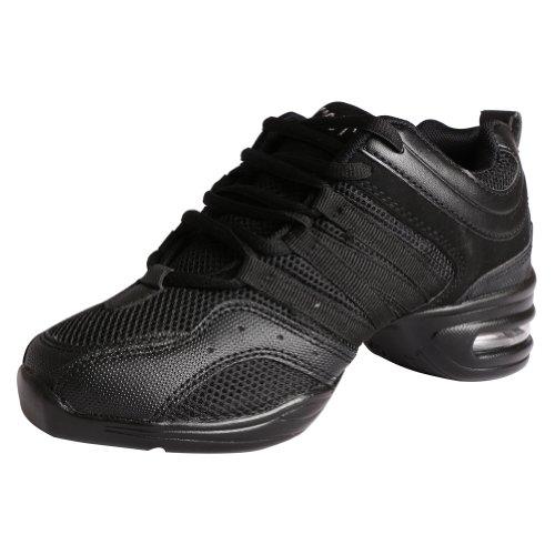 LSERVER-Zapatos de Baile Contemporáneo Jazz para Mujeres Zapatillas Ligeras y Cómodas Transpirables, Talla 36-40 EU, Negro, 37 EU