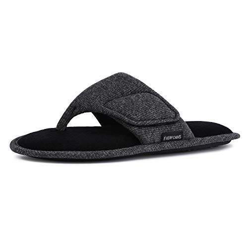 EverFoams Herren Damen Memory Foam Flip Flops Open Toe Tanga Spa Hausschuhe mit verstellbaren Haken und Schleife,Grau 40/41 EU