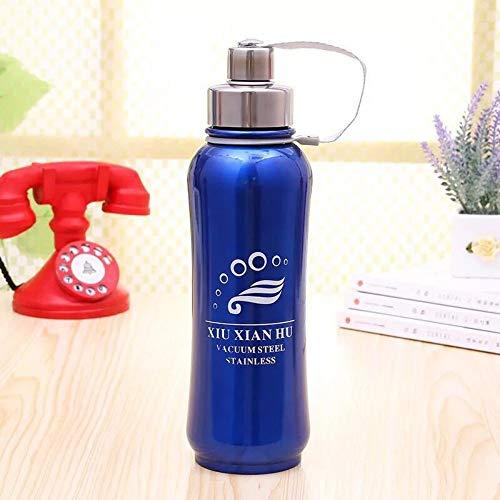 ruisibnn Termos fles van roestvrij staal waterfles sportfles vacuümfles geschikt voor kinderen school buiten (blauw 800 ml)