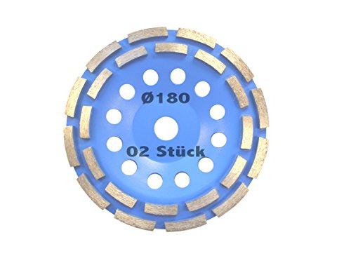 2 Stück Diamant Schleiftopf Durchmesser 180 mm für Betonschleifer, Winkelschleifer Topfscheibe Schleifteller Schleifscheibe