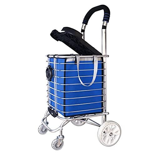 n.g. Wohnzimmerzubehör Treppensteigen Einkaufswagen Leichte Aluminiumlegierung 4 Räder Großer Wagen Faltbarer Einkaufskorb mit Sitz/Getränkehalter in Blauer Einkaufstasche