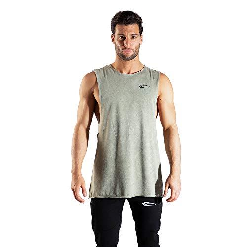 SMILODOX Herren Tanktop Matrix | Casual Top | Klassisches Design | Top für Sport Fitness Gym & Training | Tanktop mit Logo | Kurzarm |, Größe:S, Farbe:Olive