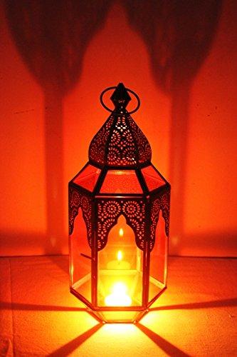 Orientalische Laterne aus Metall & Glas Haifana orange 32cm | orientalisches Windlicht | Marokkanische Glaslaterne für innen | Marokkanisches Gartenwindlicht für draußen als Gartenlaterne