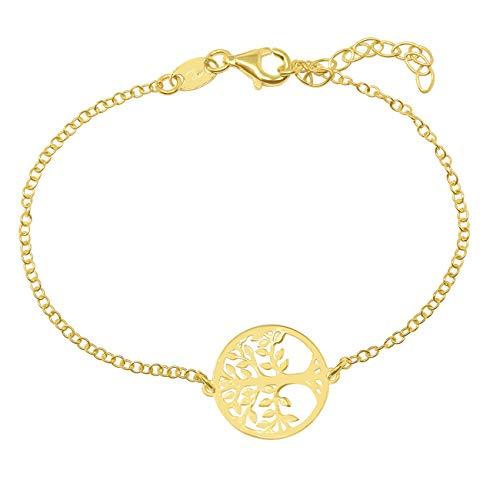 WANDA PLATA Pulsera Arbol de la Vida para Mujer Plata de Ley 925 con Baño de Oro (Plata + Oro Amarillo)