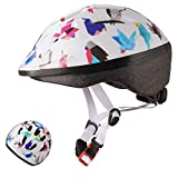 Exclusky Kids Bike Helmet, Lightweight Bicycle Helmets for Children, Adjustable from Toddler to Preschooler, Durable Scooter Helmets with Fun Designs for Boys and Girls Age 3-7 (White)