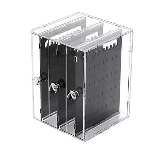 zebroau Boîte à Bijoux Boucle d'oreille Transparent Porte Rangement de Bijoux Support Organisateur Présentoir Anti-poussière avec Compartiment, Transparent