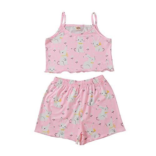 Pistazie - Conjunto de ropa para recién nacido, niña, camiseta estampada con letra impresa, pantalón corto floral para niñas o bebé niña, sin mangas, camiseta de tirantes, pantalones cortos rosa Large