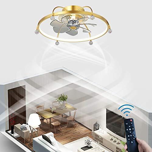 YIWEN Ventilador De Techo Moderno LED con Anillo De Iluminación, Ventilador Silencioso, Luz De Techo con Control Remoto, Lámpara De Techo Regulable
