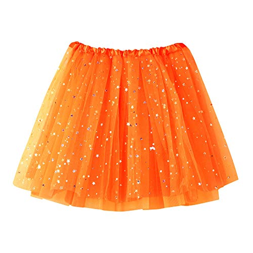 Andouy Damen Sparkly Star Pailletten Tutu Rock Tüll Organza Petticoat Balletttanz Geschichtet Kostüm Dress-up Größe 36-46(36-46,Orange)