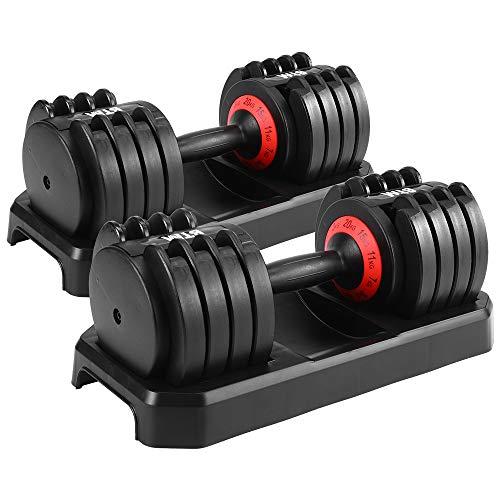BTM ダンベル 可変式 2個セット24kg 15段階調節 20kg 5段階調節 筋トレ 可変式ダンベル 鉄アレイ ワンタッチ キロ表示 コンパクト 一年安心保証 (20, 1個)