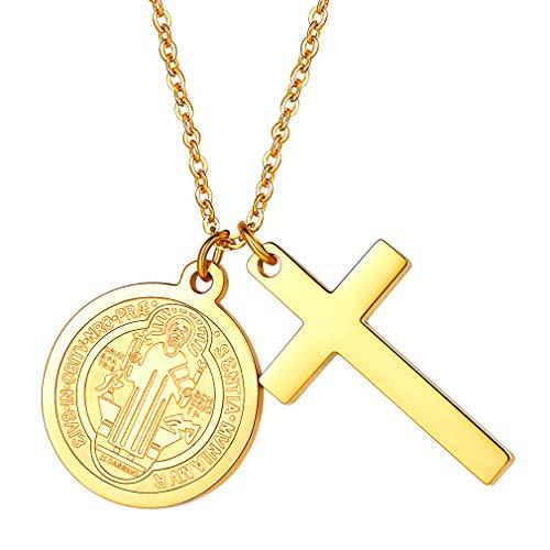 FaithHeart Acero Inoxidable Medallas Circulares de San Benito y Cruz Colgante Joyería para Mujer y Hombre Cadena Ajustable Caja Regalo Sencillo Buena Suerte
