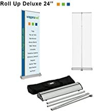Vispronet - Retractable Banner Stand – Made to fit 24inch x 81inch Banners – Height-Adjustable Display Stand – Stand Only, Banner Not Included