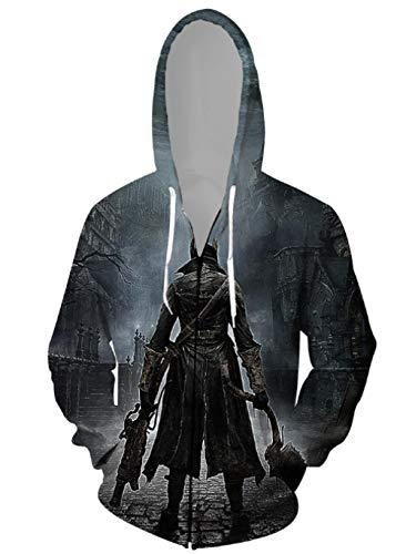 MWMMWLH Sudaderas con Capucha,Bloodborne Series Sudadera con Cremallera para Hombre con Cordn Personalidad Impresin 3D Novedad Moda Cardigan Chaqueta con Capucha Unisex-Negro XL