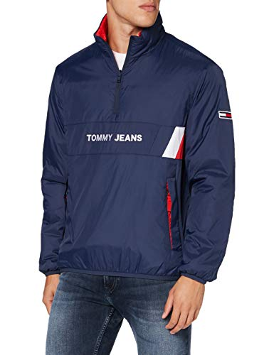 Tommy Jeans Herren TJM Reversible Retro Popover Jacke, Blau (Twilight Navy), M