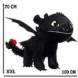 GUIZMAX Geante !!! Peluche Krokmou 70/100 cm Dragon 3 Noir