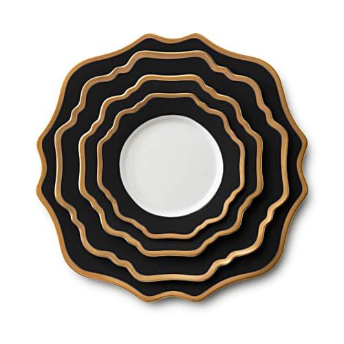 Placa de decoración de Mesa Oro Negro Flor de Sun Set Hotel Placa de Cena del Restaurante Steak Inicio Placa Placa de cerámica Placa de Filete Occidental (Color : Black, Size : One Size)